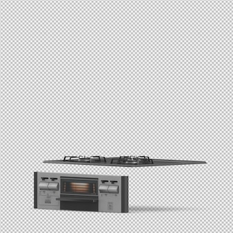 Isometric kitchen hob 3d render