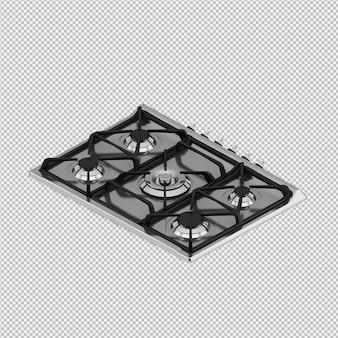 Isometric kitchen hob 3d render