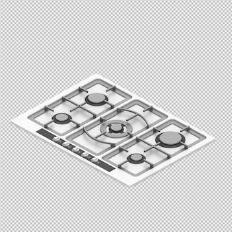 等尺性キッチン範囲3 dレンダー