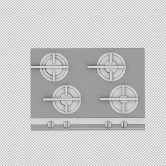 Isometric kitchen range 3d render