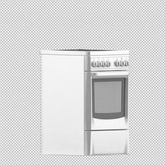 Изометрическая кухонная плита 3d визуализации