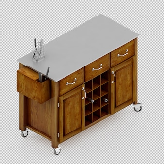 Isometric kitchen table 3d render