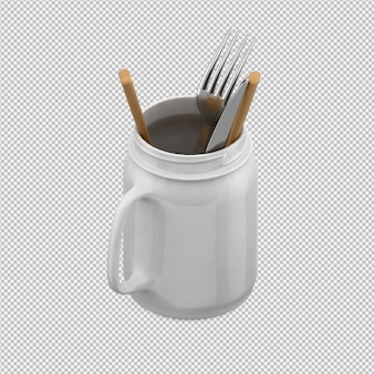 Isometric kitchen utensils 3d render