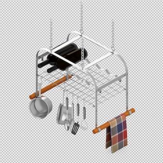 Isometric kitchen utensils 3d render