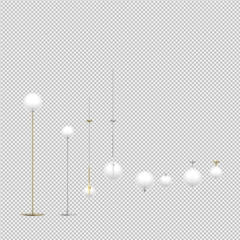 Isometric lamps 3d isolated render