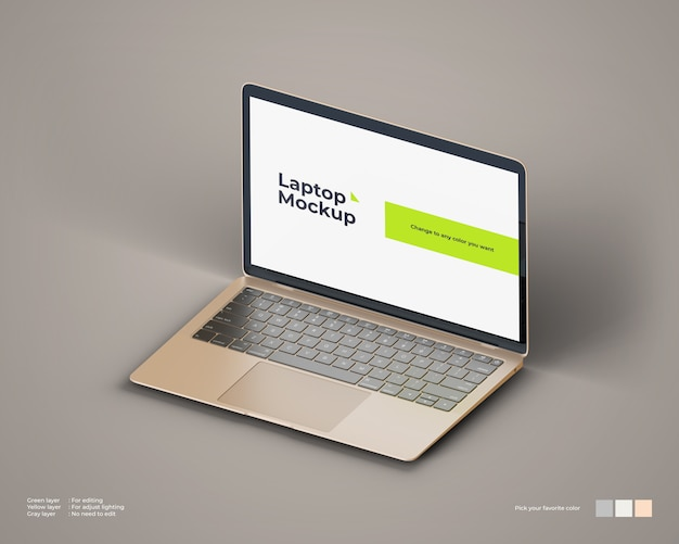Isometric laptop mockup looks right view