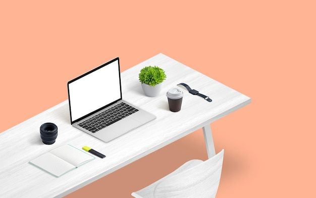 작업 책상에 아이소메트릭 노트북 화면 모형