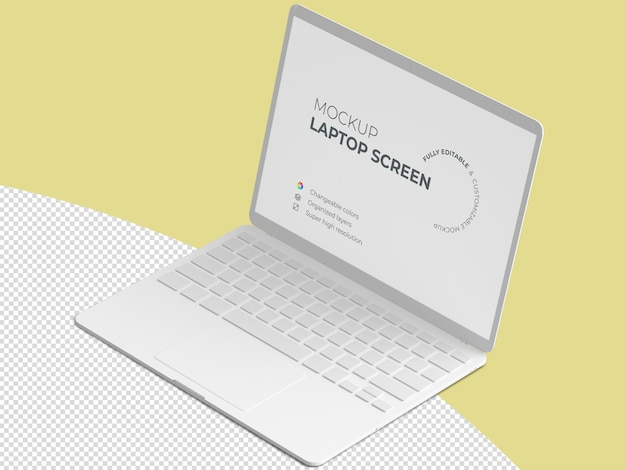 Isometric laptop screen mockup template