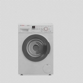 Isometric laundry machine 3d render