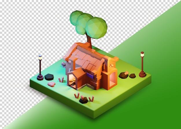 Изометрический дизайн низкополигонального замкового дома