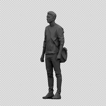 Isometric male 3d render