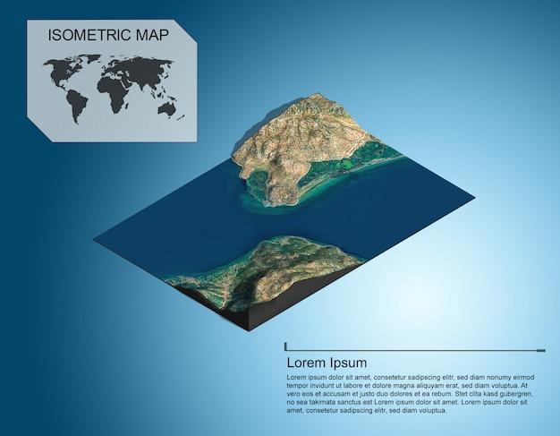 아이소 메트릭지도 가상 지형 infographic위한 3d입니다.