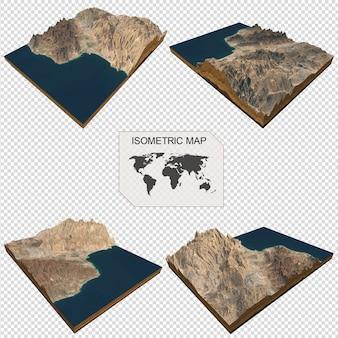 美しい女性のインフォグラフィックの等尺性マップ仮想地形3 d
