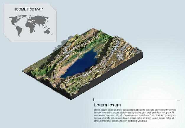 Isometric map virtual terrain 3d for infographic.