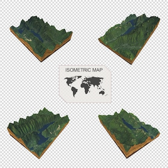 Isometric map virtual terrain 3d for infographicportrait of beautiful woman