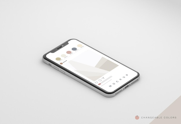 Isometric minimal 3d phone with rrss interface mockup