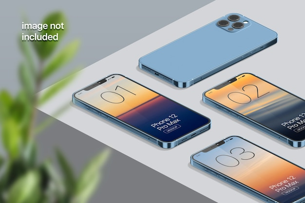 Isometric mobile phone screen mockup