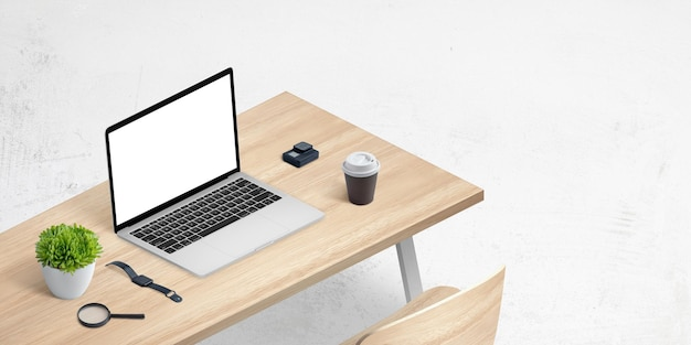 Isometric mockup of laptop on office desk