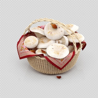 Isometric mushrooms in a basket