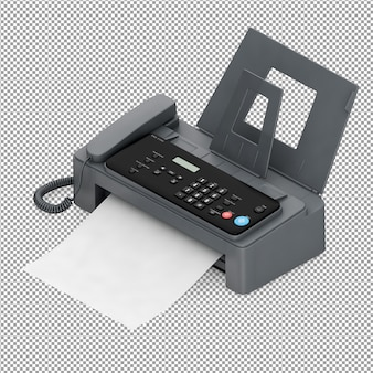 Isometric office equipment 3d render
