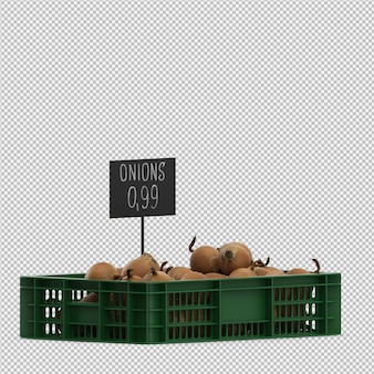 Isometric onions 3d render