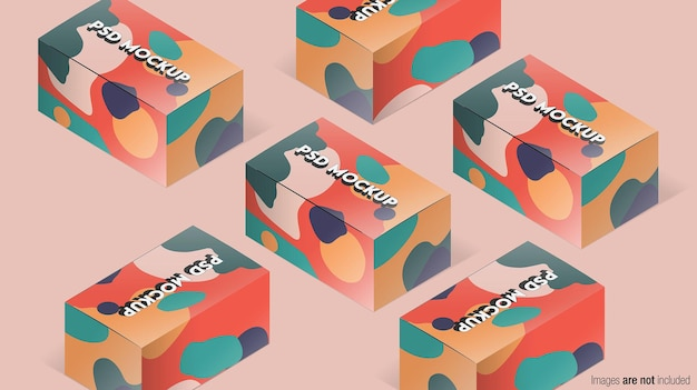 아이소 메트릭 포장 상자 목업 디자인