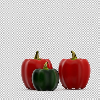 Isometric peppers 3d render
