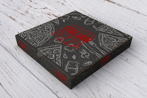 Isometric pizza box mockup