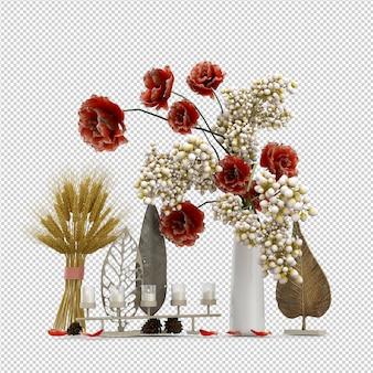 Isometric plant 3d rendering