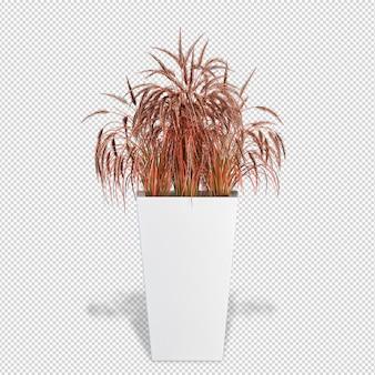 ポット3dレンダリングの等尺性植物