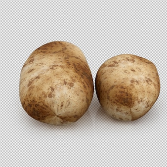 Isometric potatoes 3d render