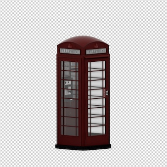 Isometric public phone 3d render