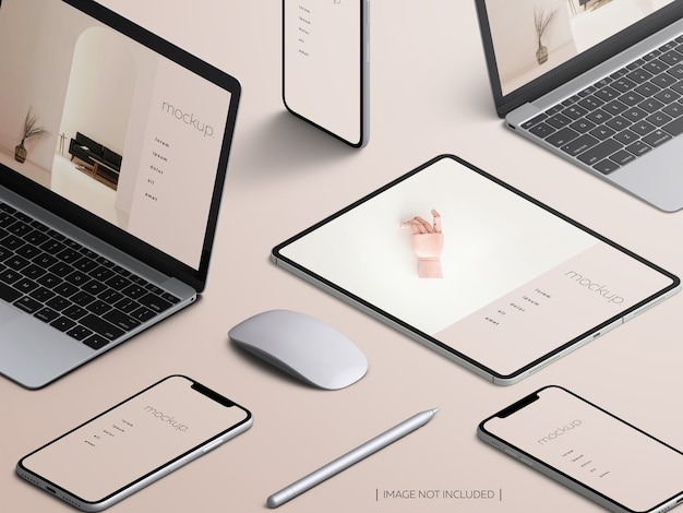 Isometric responsive devices screen mockup