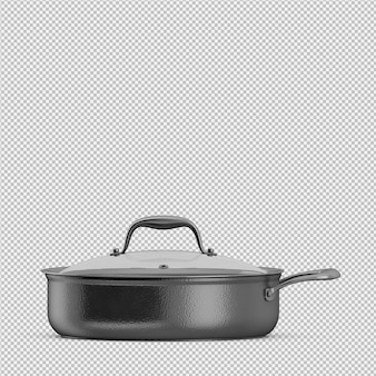 Isometric saucepan 3d isolated render