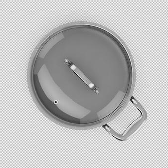 아이소 메트릭 냄비 3d 절연 렌더링