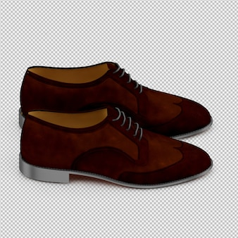 Isometric shoes 3d isolated render