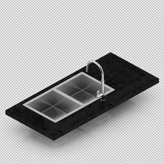 Isometric sink 3d render