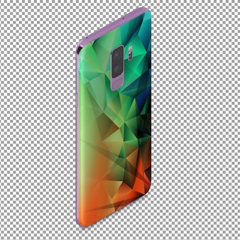 Isometric smartphone from behind with polygonal effect