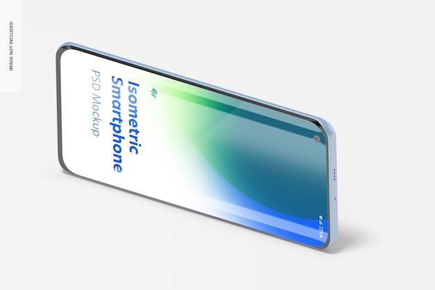 Mockup di smartphone isometrico, vista a sinistra del paesaggio