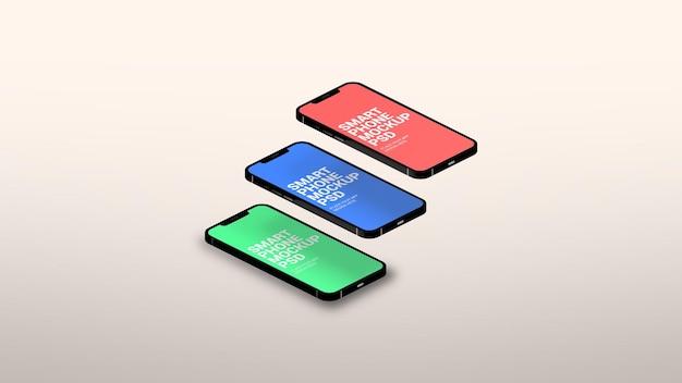 Изометрический смартфон, макет страницы трех разных приложений