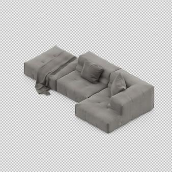 Isometric sofa 3d isolated render