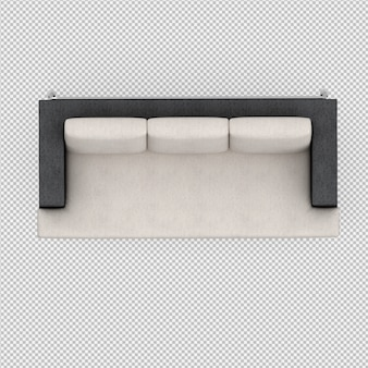 Isometric sofa 3d render