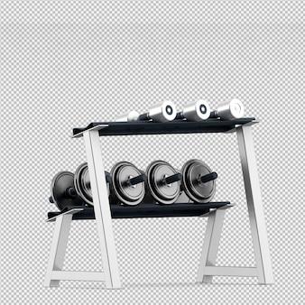 아이소 메트릭 스포츠 및 헬스 클럽 장비 3d 렌더링