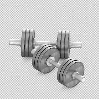 Isometric sport and gym equipment 3d render