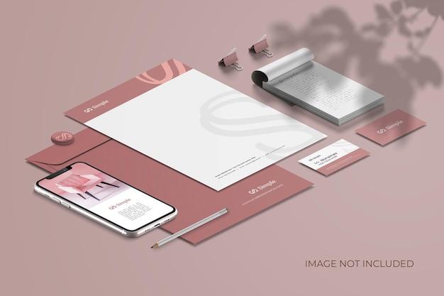 Isometric stationery branding - mockup scene creator