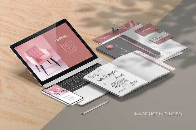 Изометрический брендинг канцелярских товаров - создатель мокапов