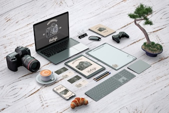 Isometric stationery mockup with photography concept
