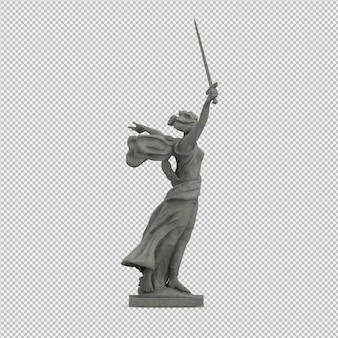 Isometric statue 3d isolated render