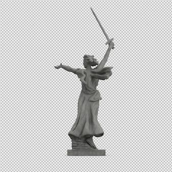 아이소 메트릭 동상 3d 절연 렌더링