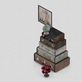 Isometric suitcases 3d isolated render
